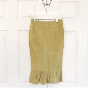 ASOS Leather Pencil Skirt with Peplum Hem